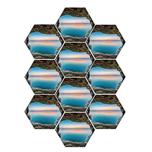 YOLIYANA Natural Cave Decorations Durable Hexagon Ceramic Tile Stickers,Fairy Image of The Horizon Inside Hidden Grotto Upper Paradise Point Tranquil Life for Living Room Kitchen,9