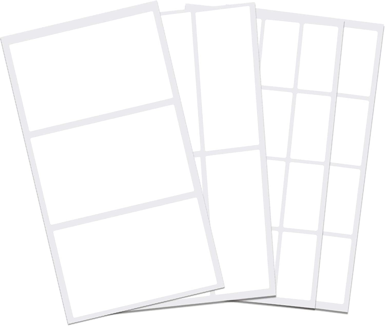 PreFeel Removable Label Stickers Waterproof Labels Practical File Folder Labels 100PCS for Food Containers White Blank Write on Name/Adress Small Labels Self-Laminating Nametags for Jars Bottles… (A)