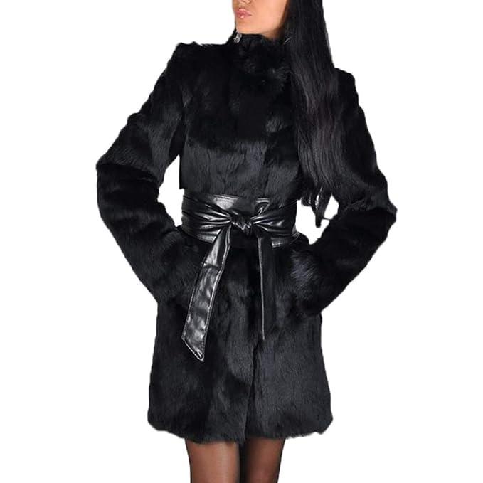 Otoño Invierno Mujeres Abrigos de Piel de Zorro de Imitación Casual Manga Larga Parka Chaqueta Cazadora Moda Faux Pelaje Outwear Calentar Coat Tops Suéter: ...
