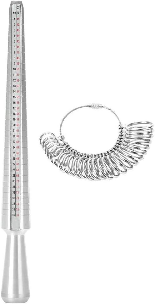 Outil de bijoux Taille UK Anneau Mandrin Stick Finger Gauge Sizer Ensemble doutils de mesure de bijoux pour bagues de mesure de taille de bague Diam/ètres M/étal pour les fabricants