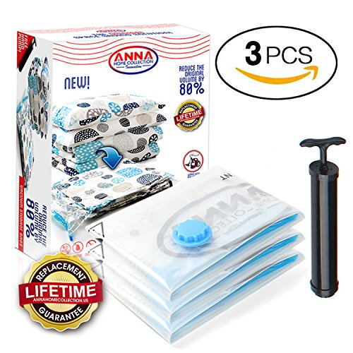 Anna Home Jumbo Vacuum Storage Bags (3 Jumbo) Space Saver Storage Bags for Travel. Durable and Reusable, Travel Hand Pump Included (Vacuum Sealed Storage)