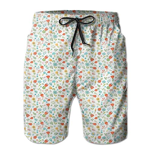 Men Swim Trunks Beach Shorts,Childish Drawing Spring Flowers Valley of Lily and Blueberries Messy Arrangement XL