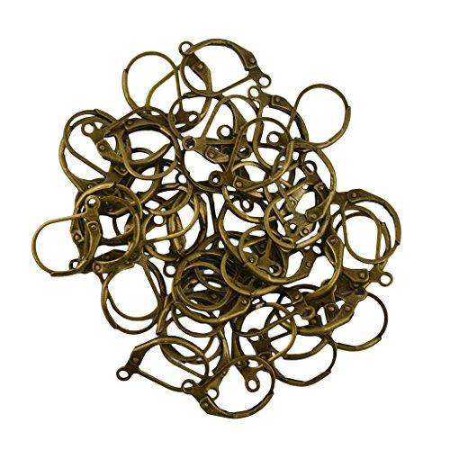 Prettyia 50pcs French Interchangeable Leverback Earring Findings Ear Wires Earring Hooks - Antique Bronze (Bronze Leverback Earring Hooks)