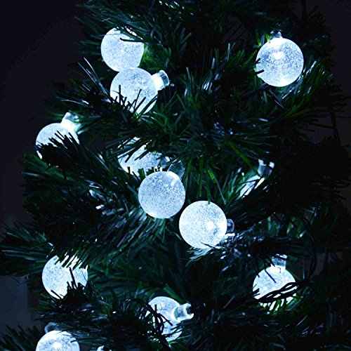 Battery Operated Outdoor String Lights Globe: Qedertek Battery Powered Christmas Globe String Lights