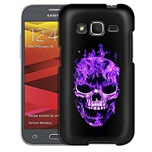 Samsung Galaxy Core Prime Case, Slim Fit Snap On Cover by Trek Purple Flaming Skull on Black Case