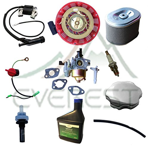Honda GX160 GX200 5.5HP & 6.5HP Tune Up Kit Recoil Carburetor Ignition Coil Spark Plug Air Filter Gas Cap Oil (Lawn Cap Gas Mower Steel)