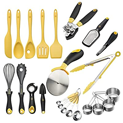 Zestkit Cooking Utensils Set Silicone Kitchen Tool Kits, Nonstick Gadgets 23 Pieces -Turner, Tongs, Spatula, Pizza Cutter, Can Opener, Whisk, Grater, Peeler, Measuring Cups etc, Stainless Steel from Zestkit