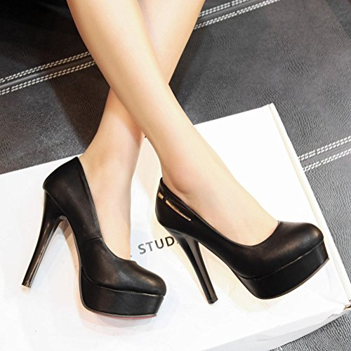 Mee Shoes Damen hocher Absatz Plateau runde Pumps Schwarz