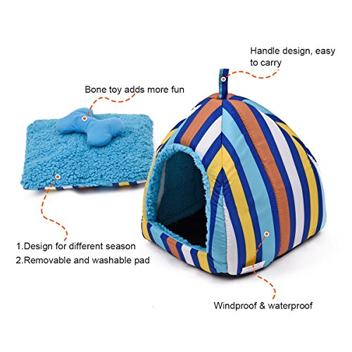 Colorful Stripes Plush Dome Dog Bed Soft Igloo Cat Tent Snooze Pad & Toy For Cats & Dogs Warm Pet House Blue Small (10.6'' x 10.6'' x H11.0'') by American Trends (Image #2)