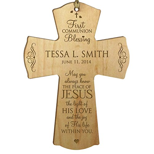 LifeSong Milestones Personalized Baptism 1st Holy Communion Christening Gifts Custom Wall Cross Decoration May You Always Know The Peace of Jesus The Light of His Love (4.5