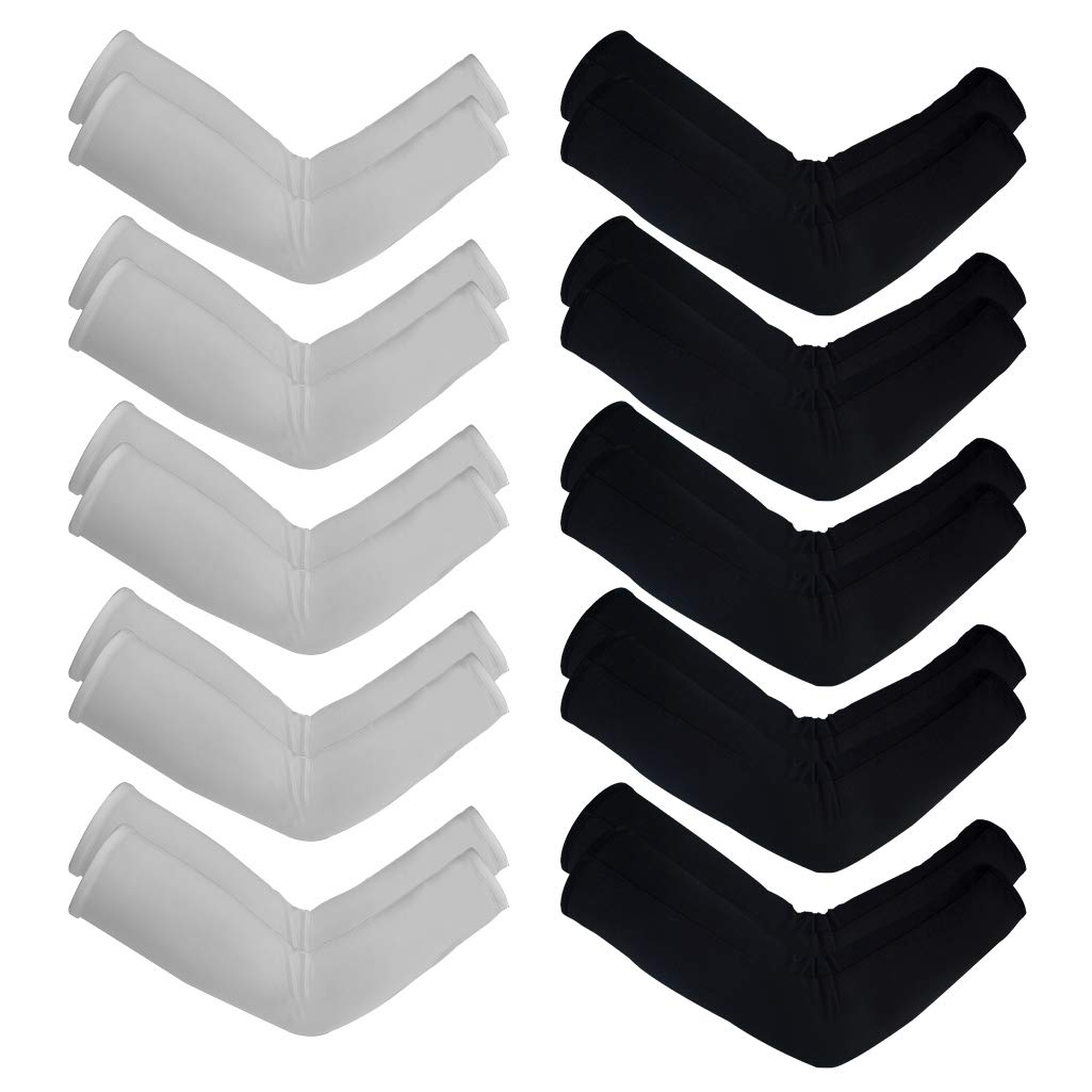 10 Pairs Unisex Arm Sleeves, Arm Sleeves UV Sun Protection Cooling Sleeves for Women Youth Arm Cover Sleeves for Boys Girls Bike Riding Baseball Basketball Running Outdoors Activities, Black and White