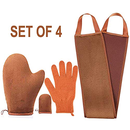 (4 pack Self Tanning Mitt Applicator Kit , with Self Tan Mitt applicator, exfoliating gloves, Tanning back lotion applicator, mini Self Tanner Mitt, Self Tanner Mitt ,Tanning Mitt Applicator Kit)