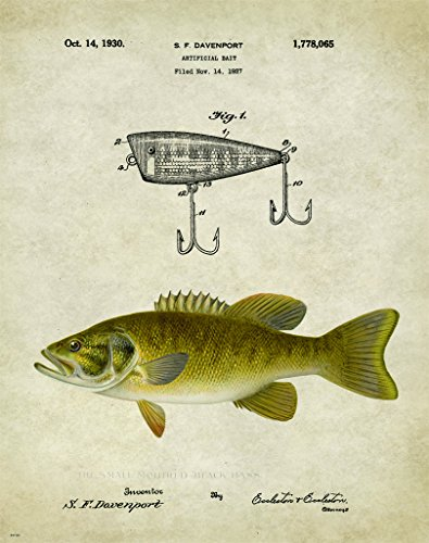 Antique Fly Fishing Lure US Patent Poster Art Print Crappie Trout Smallmouth (Fly Fishing Trout Prints)