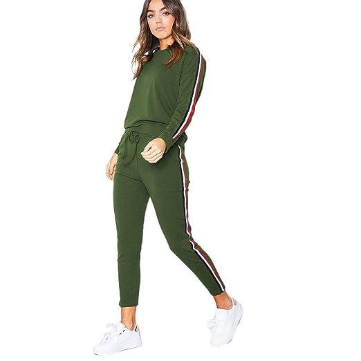 49e7467d49bb Fanxis Women 2 Piece Sport Suits Active Top Bottom Sets, Sweatshirt + Pants  Tracksuits Army