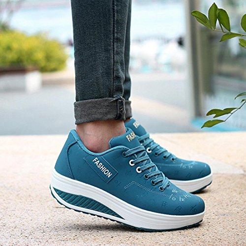 Hauteur Casual Walking Femme Croissant Cales Tennis Raquette Sport Chaussure Bleu Beautyjourney Swing Flats Femmes YI8Ew