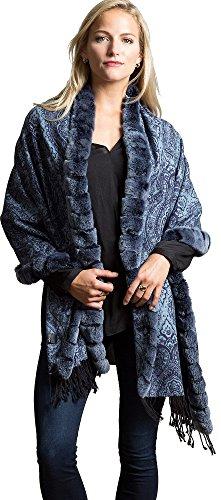 Cara Cashmere Wrap with Rex Rabbit Fur Trim, BLUE, Size 1 Size by Overland Sheepskin Co
