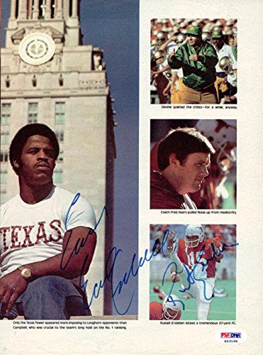 Earl Campbell & Russell Erxleben Autographed Magazine Page Photo #S43198 PSA/DNA Certified Autographed NFL Magazines