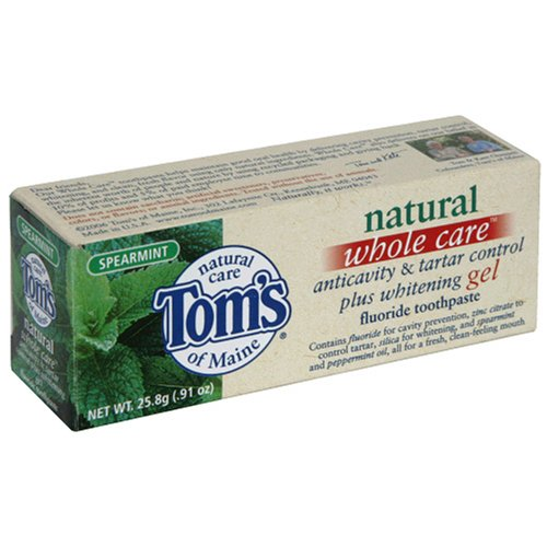 Tom's of Maine Natural Whole Care Anticavity & Tartar Control Plus Whitening Gel Fluoride Toothpaste, Spearmint, 0.91-Ounce Tubes (Pack of 12) ()