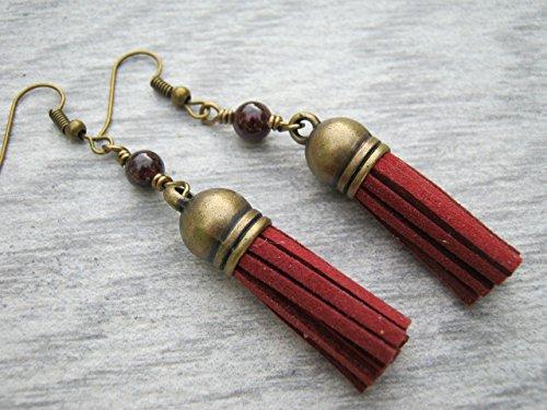 (Red Vegan Faux Leather Tassel Earrings, Garnet Gemstone Earrings, Tassel Jewelry, Root Chakra Earrings, Antiqued)