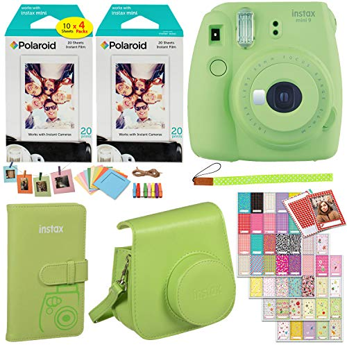 Fujifilm Instax Mini 9 Instant Camera (Lime Green), 2 x Twin Pack Instant Film (40 Sheets), Camera Case, Photo Album, Square Photo Frames & Accessory Bundle