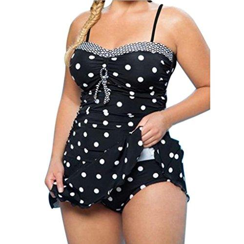 Euone® Women Wave Dot Printed Plus Size One Piece Monokini Swimwear Push-Up Padded Bikini Swimsuit (XL, Black) Dot Monokini