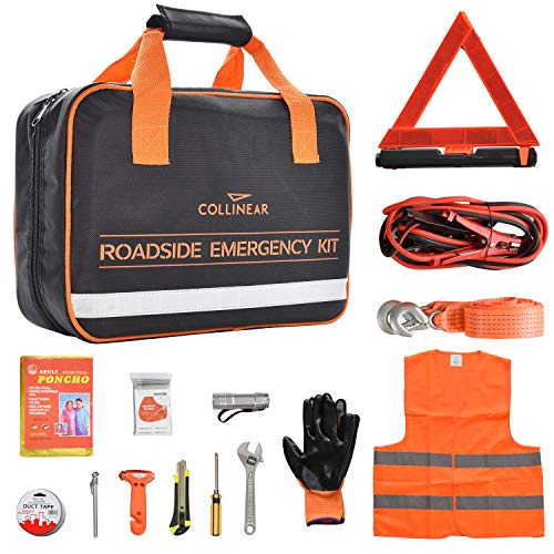 [해외]Collinear Roadside Emergency Kit Multifunctional Auto Roadside Assistance Car Premium Road Tool Kit Contains Jumper Cables Tool Bag Reflective Safety Triangle and More Ideal Survival Pack Accessories / Collinear Roadside Emergency ...