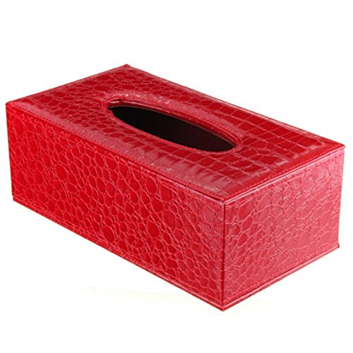 Red Magnet Rectangle (Tissue Box - SODIAL(R) Durable Home Car Rectangle PU Leather Tissue Box Paper Holder Case Cover Napkin(red Crocodile Grain))