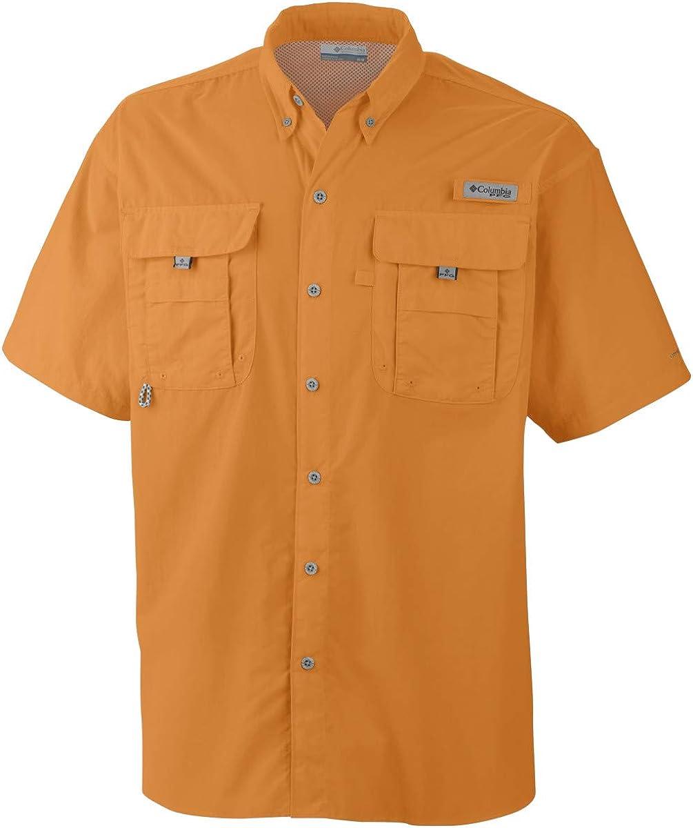 New Columbia PFG Bonehead Vented Beige Button Up Short Sleeve Shirt Men/'s XL