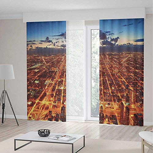 City Room Decor Curtains,Chicago Downtown Skyline Aerial Panorama View at Dusk with Skyscrapers,Living Room Bedroom Window Drapes 2 Panel Set,142 W 95 L,Orange Dark Orange Blue -