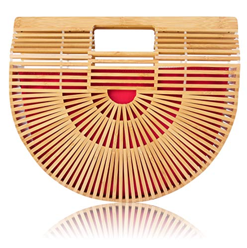 (Bamboo Handbag with Reversible Purse Liner Insert for Women by la Bambu (Large 12.5 x 4 x 11 with Red and Beige Liner))