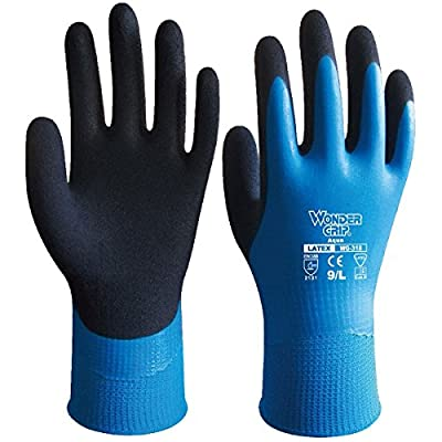 bouti1583 Wonder Grip Safety Waterproof Resistance Work Latex Gardening Nylon Gloves