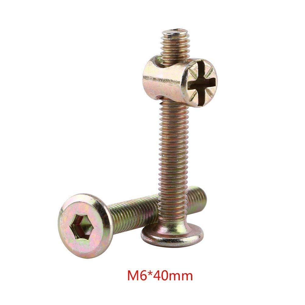 Plain Finish 10pcs M6 Carbon Stahl M/öbel Schrauben mit Fass Nuts Dowel Mutter Connector Fastener 40mm