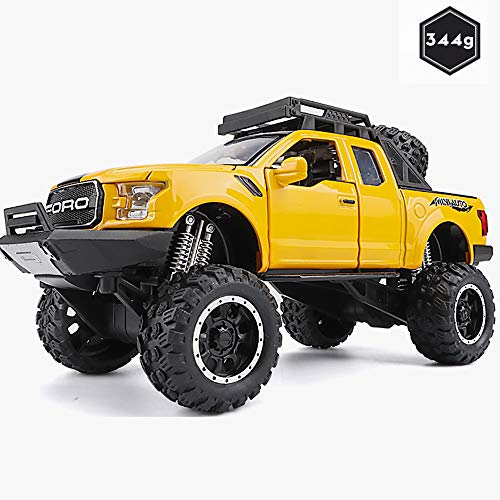 Pandady Pickup Truck 1:32 Car Model Simulation Alloy Car Child Toy Car Model Boy Off-Road Jeep Alloy Body Cool Light Shock/Pull Back,Yellow