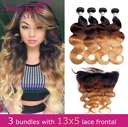 Ombre Human Hair Bundles with 13x5 Frontal 1b/4/27 Human Hair,SHOWJARLLY 8A Grade Brazilian Virgin Hair Bundles,3 Bundles Ombre Body Wave with 13X5 Ear to Ear Lace Frontal