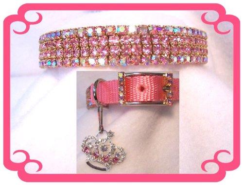 ~Prissy Pink Aurora~ Rhinestone Dog Cat Collar Sz MEDIUM, My Pet Supplies