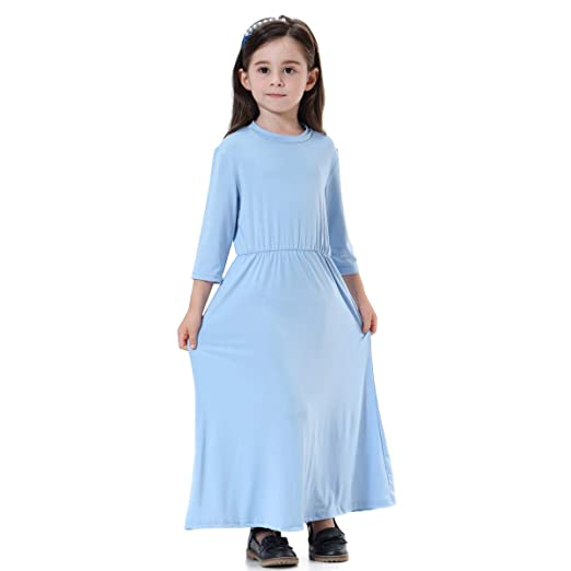 87c30709fd54 Amazon.com  KONFA Teen Toddler Baby Girls Solid Color Muslim Dress ...