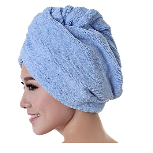 [YIWULA Women Microfiber Bath Towel Hair Dry Cap (Blue)] (Hip Hop Felt Hat With Feather)