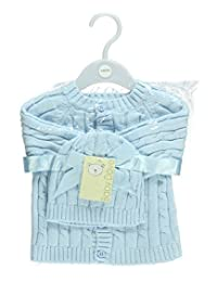 Baby Dove Baby Boys' Cable Knit Cardigan & Beanie Set
