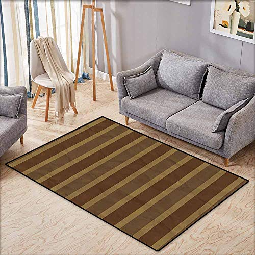 Inner Door Rug Retro Grunge Style Geometric Stripe Pattern Paper Effect Digital Print Cinnamon Cocoa and Redwood Non-Slip Door mat pad Machine can be Washed W6'8 xL4'9