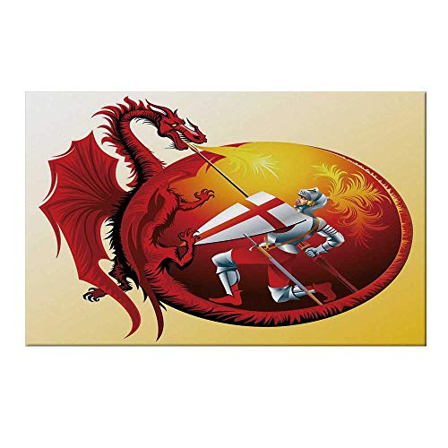 (YOLIYANA Dragon Durable Door Mat,Saint George with Fire Spitting Winged Creature Royal Knight Graphic Decorative for Home Office,15.7