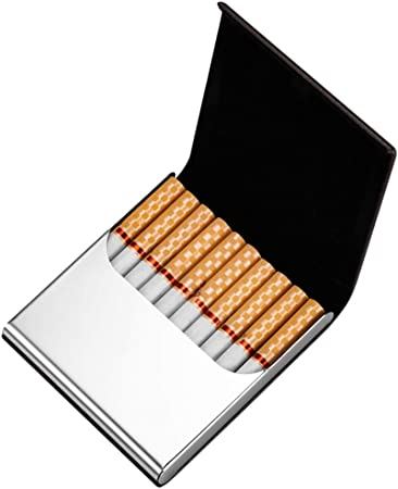 SXFYHXY Estuche de Cigarrillos de Metal, Ultra Delgado, de Acero Inoxidable portátil, 10 Palos, Estuche para Cigarrillos,Black,88x82x15mm: Amazon.es: Hogar