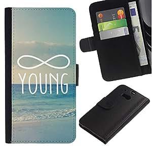 A-type (Infinity Mathematics Young Forever) Colorida Impresión Funda Cuero Monedero Caja Bolsa Cubierta Caja Piel Card Slots Para HTC One M8