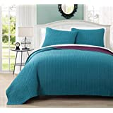 Project/Runway Queen Size Quilt, Teal and Plum 90X90 Inches Coverlet 3pc set, Luxury 100% Microfiber Embroidered Quilt by Royal Hotel
