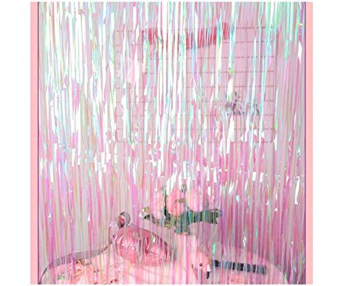 ShinyBeauty 3FTX7FT-Foil Fringe Backdrop-Colorful White,Metallic Door Window Curtain(Pack of ()