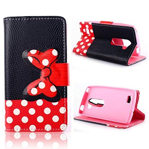 LG Destiny Case LG Power Case LG Sunset Flip Case,Tribe-Tiger Minnie Mickey Series Luxury Leather Wallet Flip Kickstand Cover Case for LG Leon(LG C40, LG L22C, LG L21G)(Polka Dot)