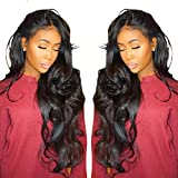 Cici Collection 360 Lace Frontal Wig Pre Plucked Bleached Knots 180% Density Lace Front Human Hair Wigs For Black Women 360 Lace Wig Lace Front Wigs Human Hair with Baby Hair (18inch, Body Wave)