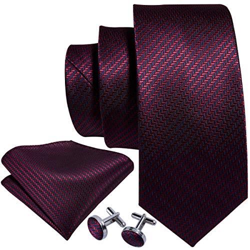 Barry.Wang Men Burgundy Tie SetSilk Necktie Pocket Square Cufflinks Extra Long Tie