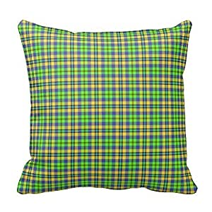 Apple Green Gold and Blue Plaid Gingham Chess Pattern Square Throw Pillow Cover Case Decorative for Sofa 18 x 18 Inch Two Sides