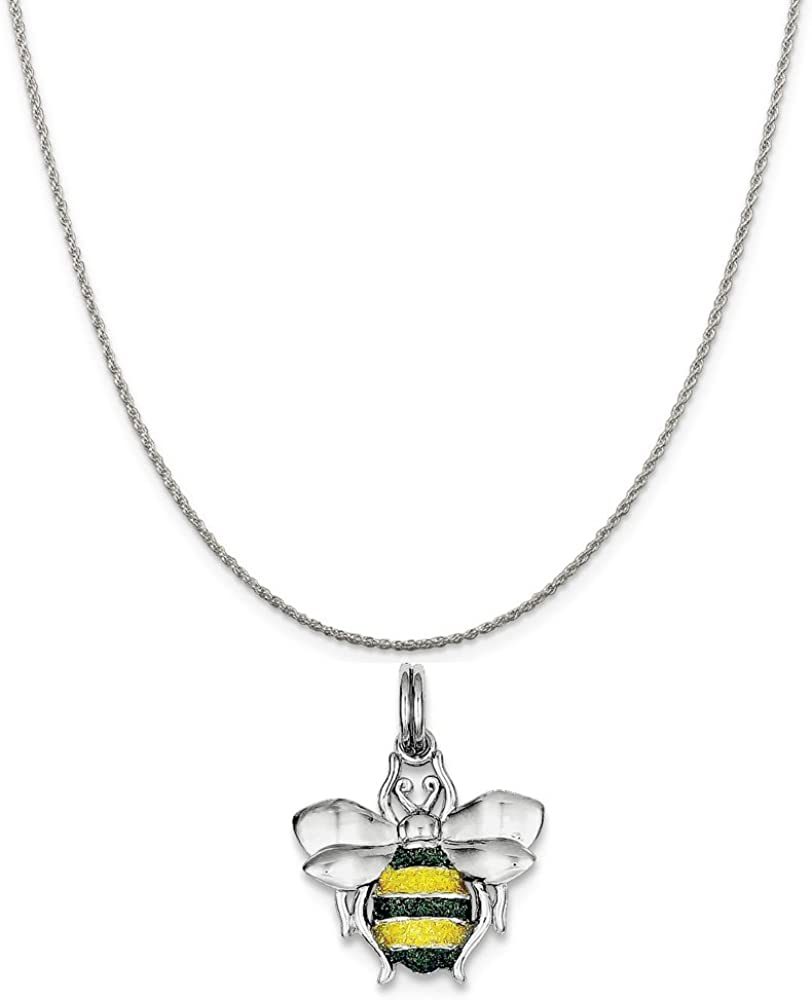 16-20 Mireval Sterling Silver Green and Yellow Enamel Bee Charm on a Sterling Silver Chain Necklace