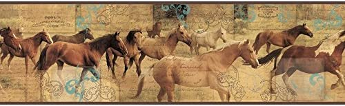 York Wallcoverings bp8285bd Pony Express Border、ベージュ、ブラウン、グレー、ブラック、グリーン、ホワイト